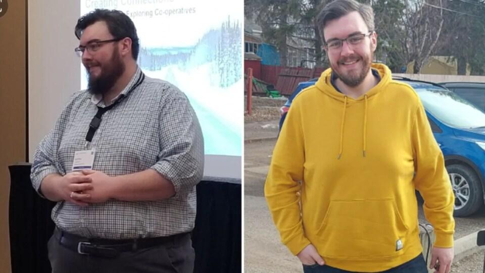 Deux photos du même homme : celle de gauche avant sa perte de poids et celle de droite aujourd'hui.