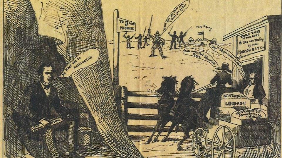 Une photo d'un dessin datant du 19e siècle. On y voit les représentants d'Ottawa arrêtés par une clôture, derrière laquelle de trouvent des Métis.