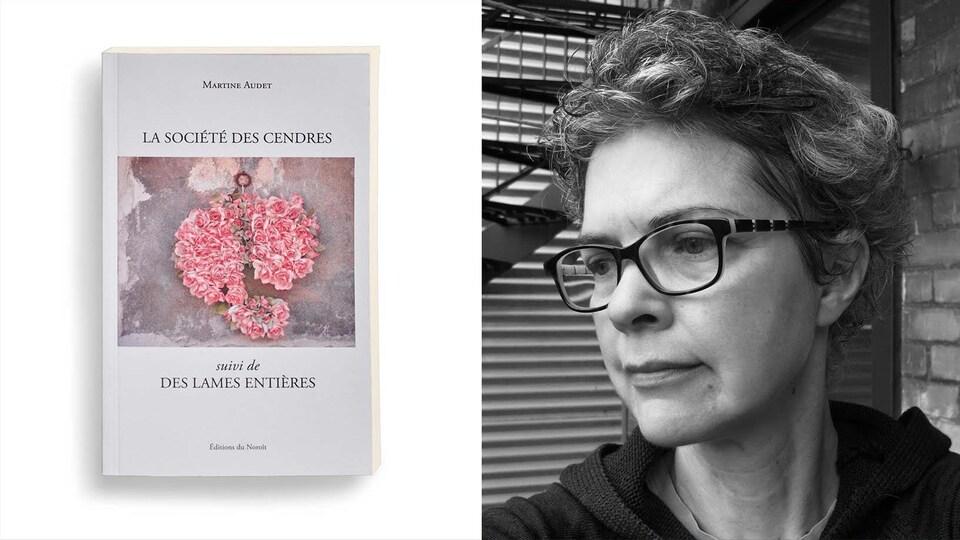 Montage photo du portrait de l'autrice avec la couverture de son livre.