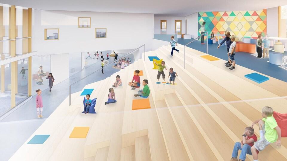 Le dessin montre des enfants installés sur différentes marches, des gradins donnant sur d'imposantes baies vitrées.