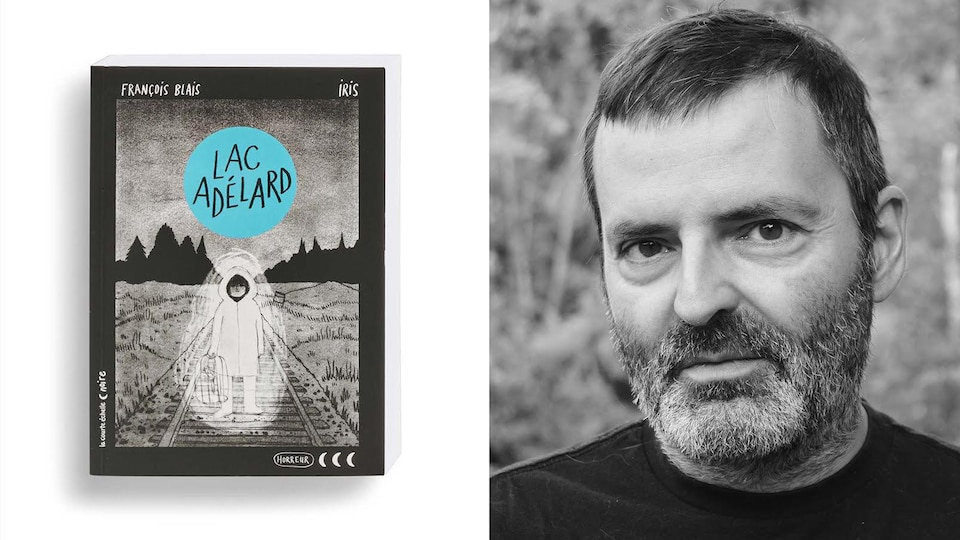 Montage photo du portrait de l'auteur avec la couverture du livre.