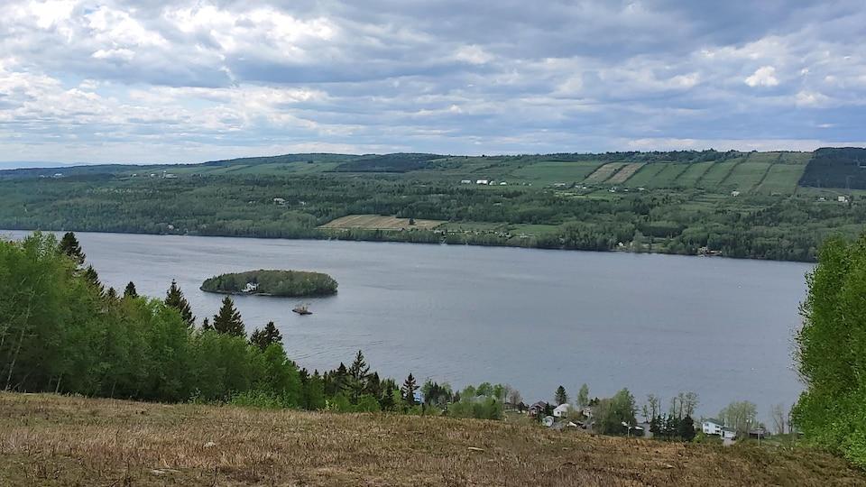 Une île au centre d'un lac bordé de résidences.