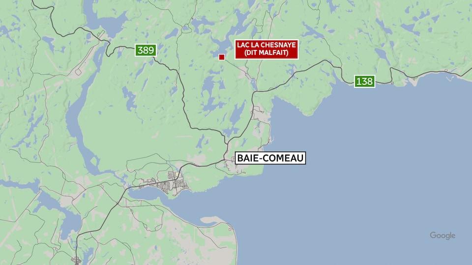 Une carte de la région de Baie-Comeau