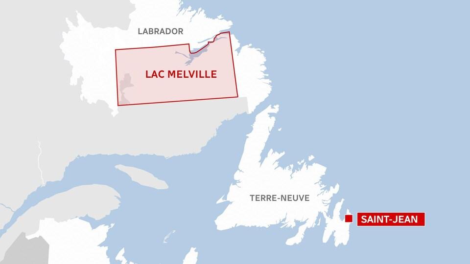 Une carte de Lac Melville.