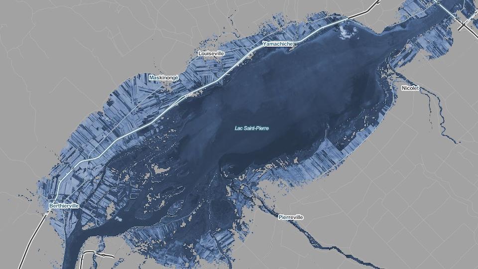 Une carte montrant les eaux du lacs Saint-Pierre qui envahissent les terres du littoral