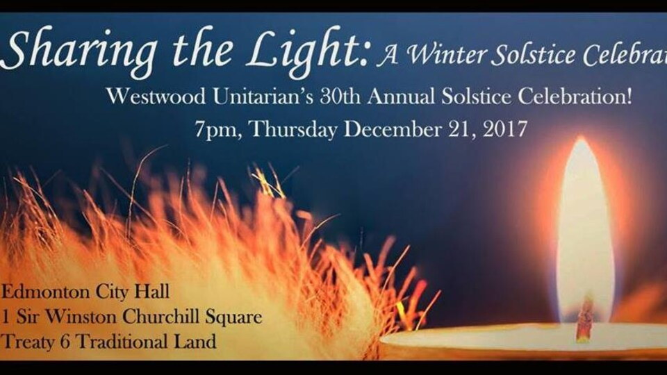 L'affiche format horizontal de la célébration du solstice d'hiver de la congrégation unitarienne Westwood à Edmonton