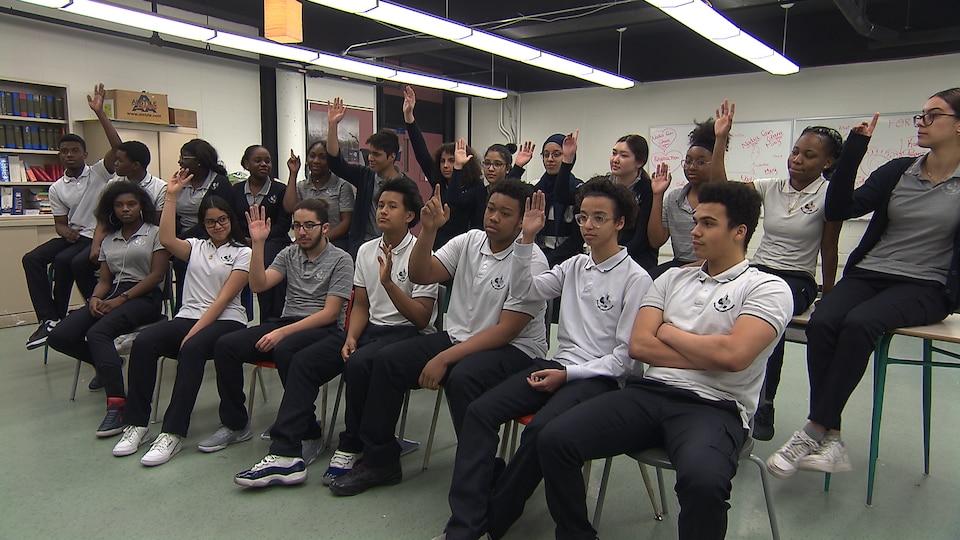 Un groupe de jeune de l'école Louis-Joseph-Papineau à Montréal