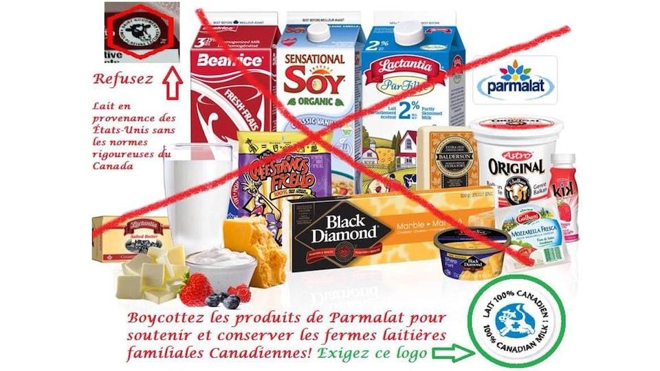 Nous voyons plusieurs produits de la gamme Parmalat avec un gros « X » rouge. « Boycottez les produits de Parmalat », est-il écrit, entre autres.