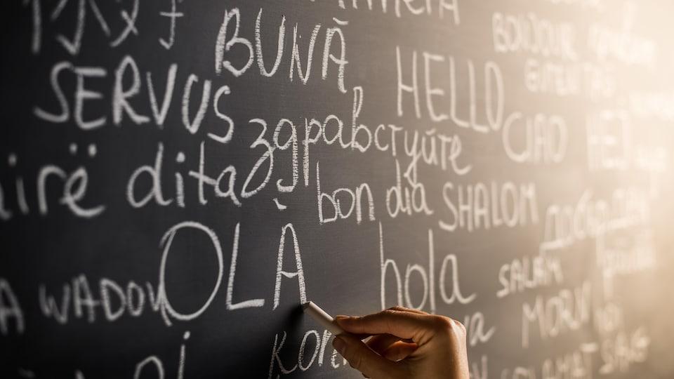 Salutations écrites au tableau dans différentes langues