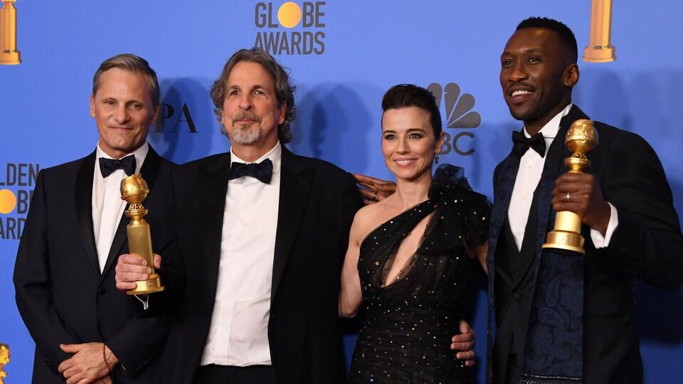 Le comédien Viggo Mortensen, le réalisateur Peter Farrelly, et les acteurs Linda Cardellini et Mahershala Ali, pour le film <em>Le livre de Green</em>.