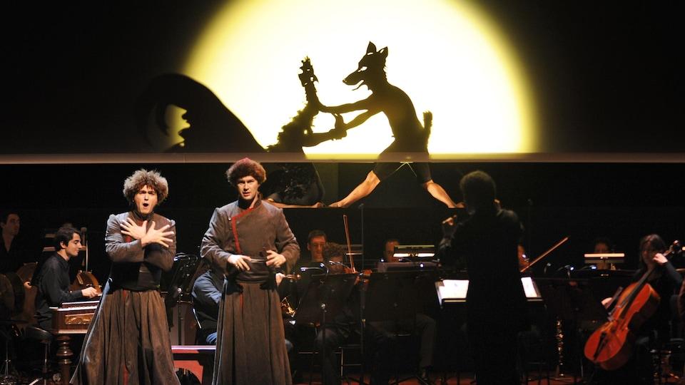 Une représentation de l'opéra Le Rossignol, mis en scène par Robert Lepage, au Grand Théâtre de Provence, à Aix-en-Provence.