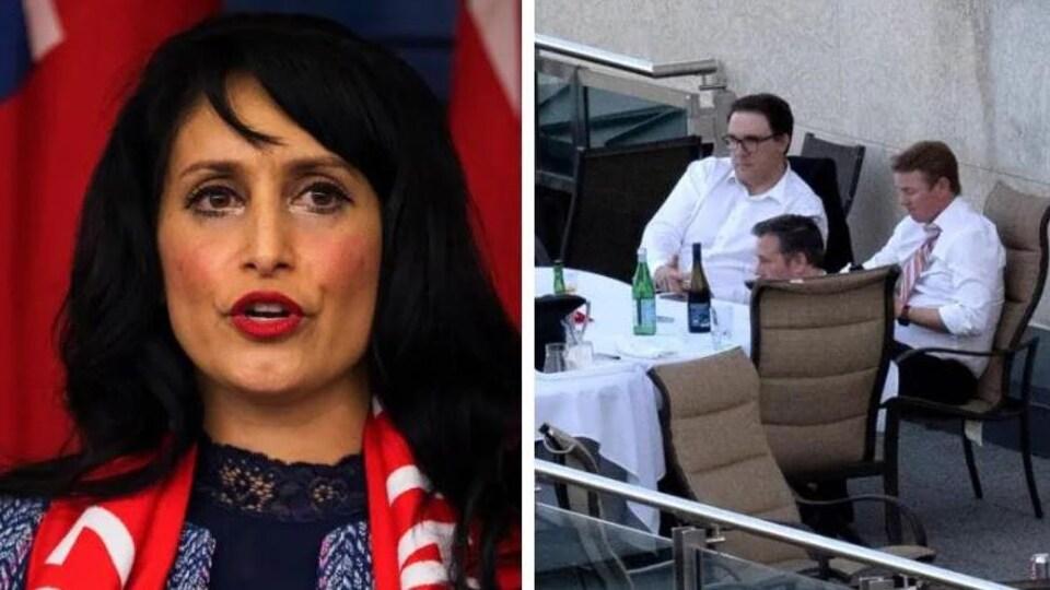 Deux images côte à côte. À gauche, la ministre Leela Aher, à droite une photo montrant le dîner de Jason Kenney et de ses collègues.