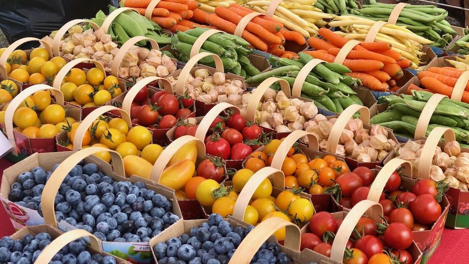 Des boîtes de fruits et de légumes sur une table d'un marché public.