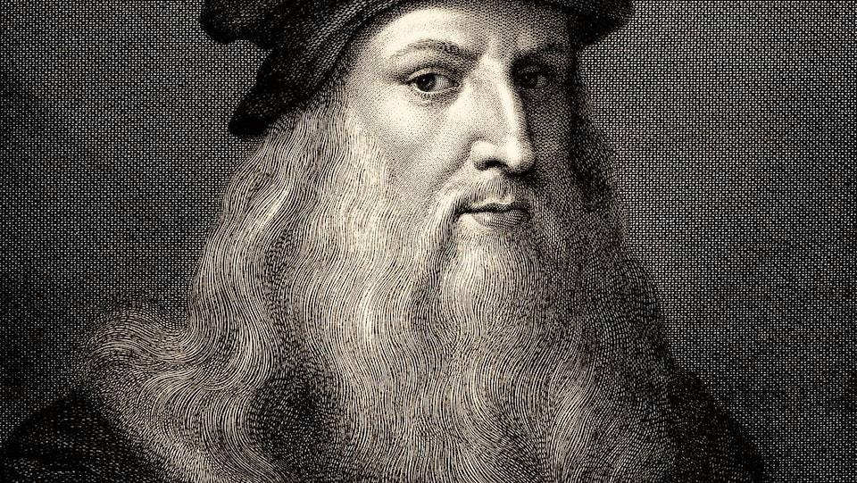 L'artiste est dessiné en noir et blanc.