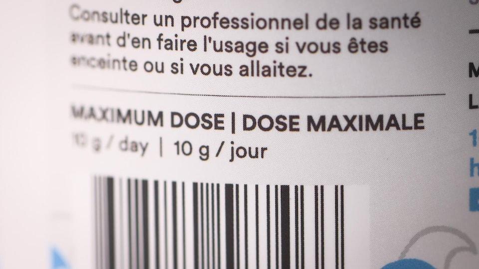 Une étiquette indiquant la dose maximale de collagène à prendre quotidiennement.