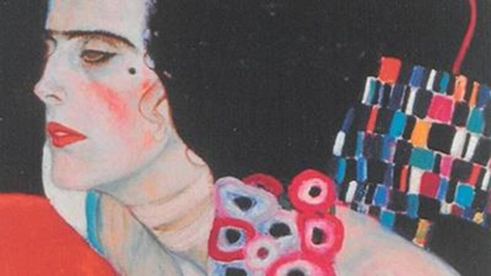 Une femme est dessinée sur la page couverture du recueil de poésie que l'on n'aperçoit pas en entier.