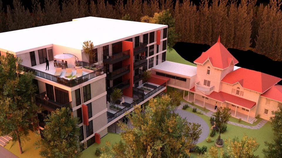 Maquette du projet immobilier sur les terrains de la Villa Livernois.