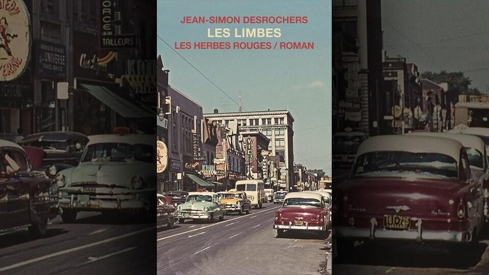 Une rue de Montréal avec des voitures dans les années 60 ou 70.