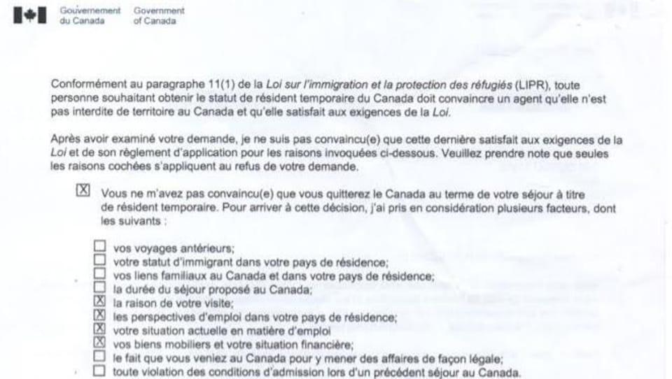 Une lettre du gouvernement du Canada.