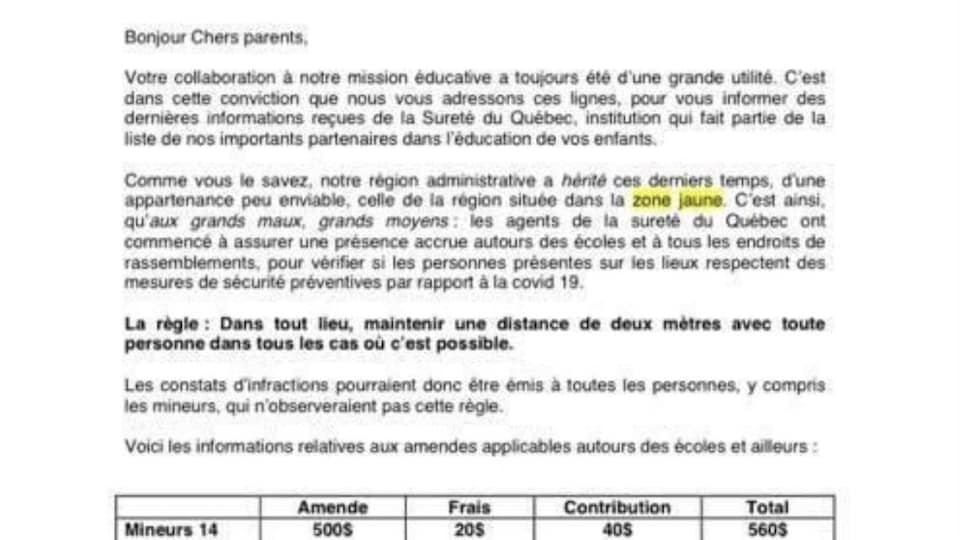 Photo d'une lettre explicative pour trois écoles, avec les montants prévus pour des constats d'infraction. La lettre est signée par le directeur et deux directeurs adjoints.