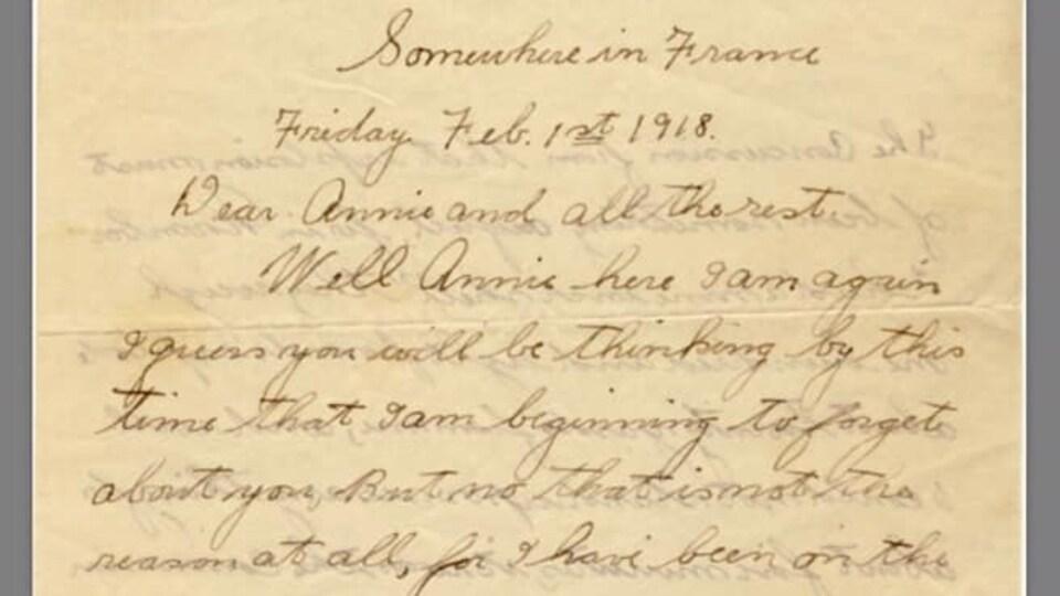 Une lettre manuscrite.