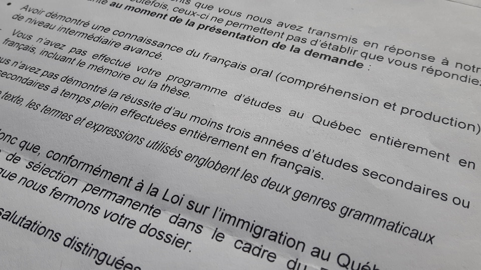 La lettre de refus du ministère de l'Immigration est datée du 26 avril 2019