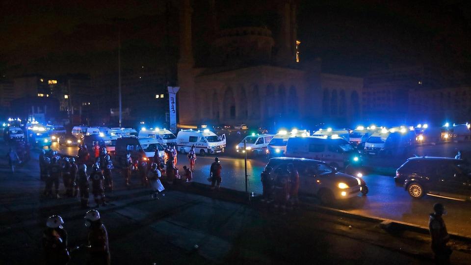 Une vingtaine d'ambulances avec des gyrophares allumés.