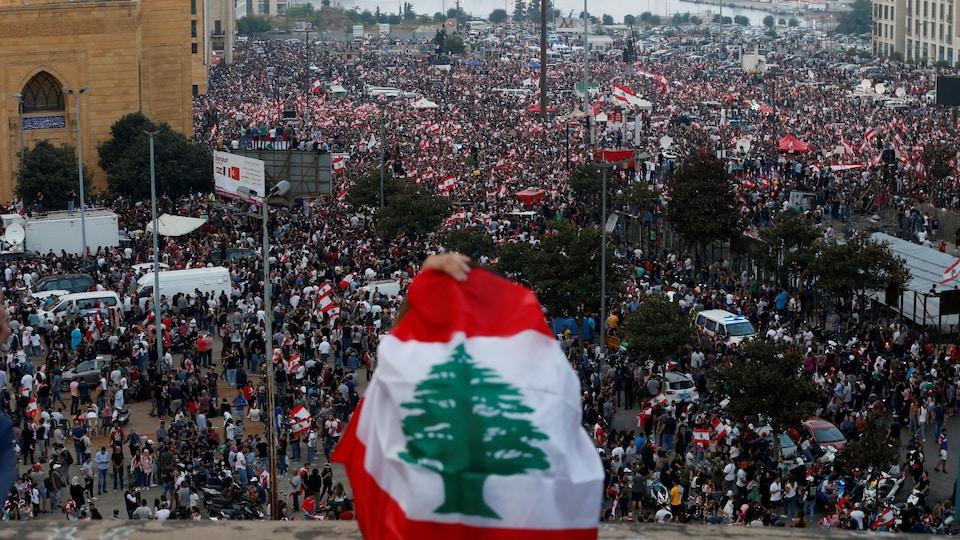 Vue générale d'une manifestation à Beyrouth