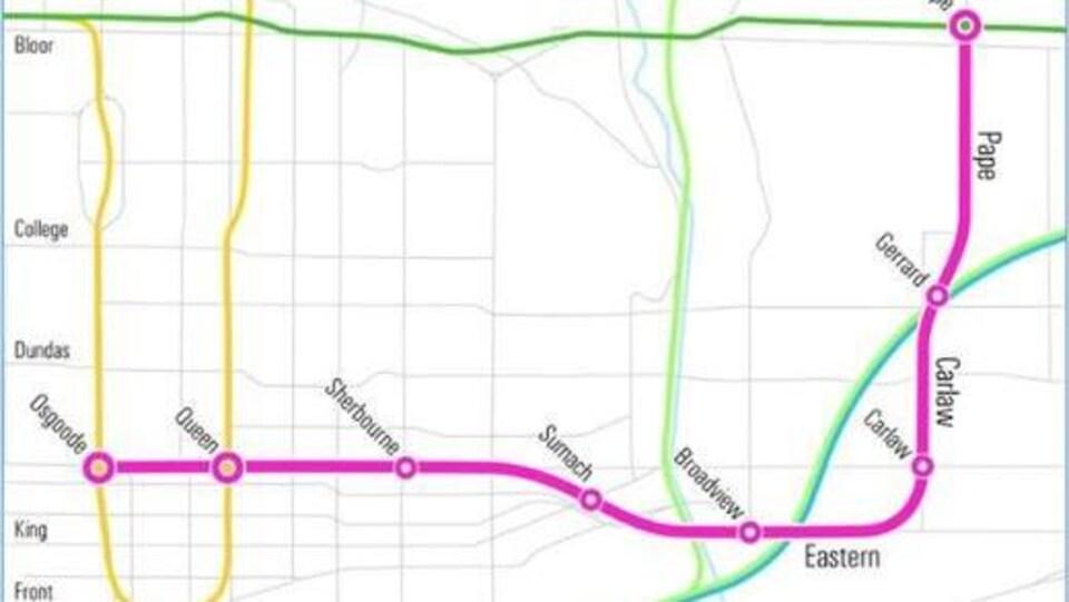 Plan du métro de Toronto montrant les stations de la Relief Line