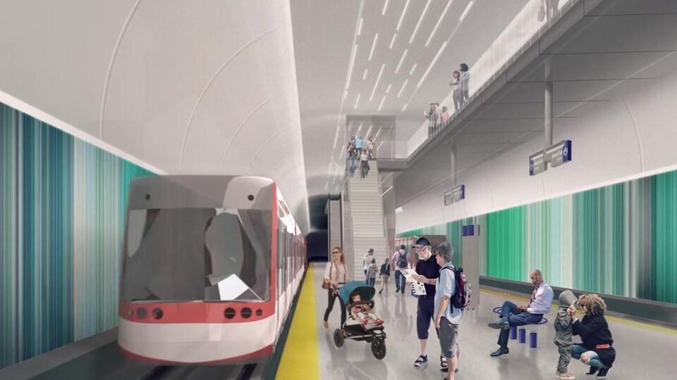 Un dessin de ce à quoi ressemblerait une station de la ligne verte.