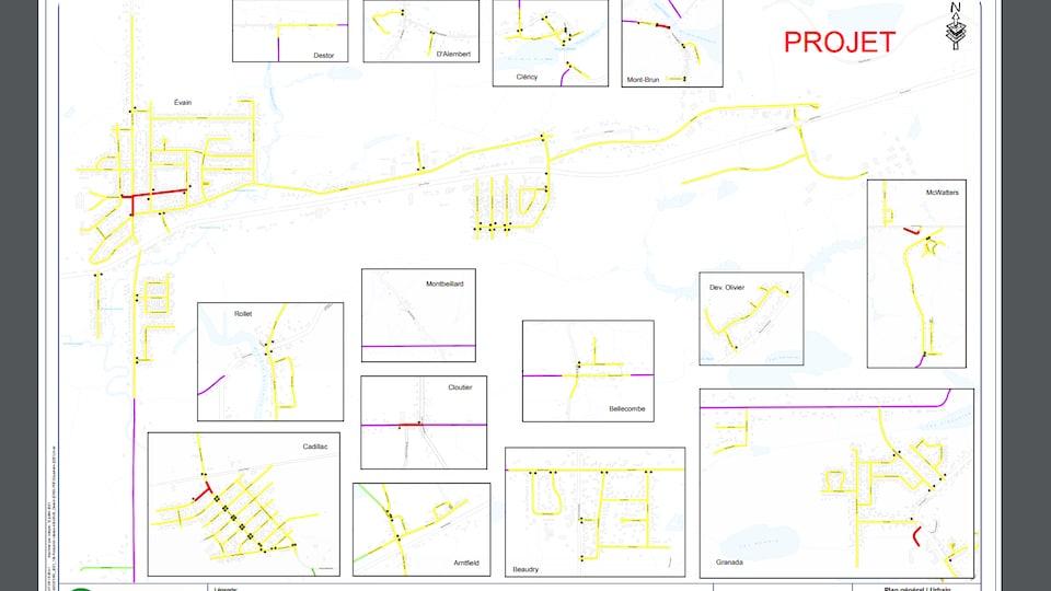 Des cartes des rues des quartiers environnants.