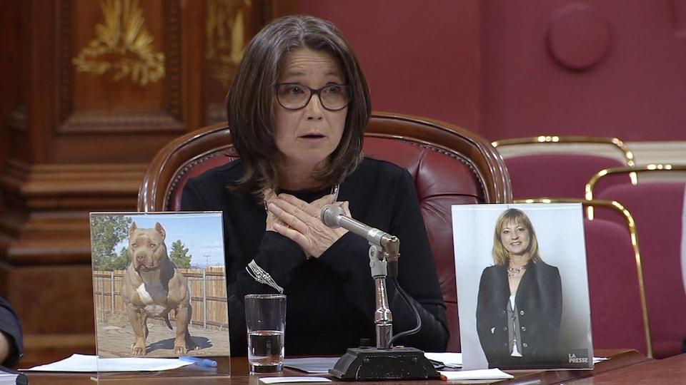 Plan moyen de Lise Vadnais, avec devant elle la photo d'un chien et la photo de sa défunte sœur.