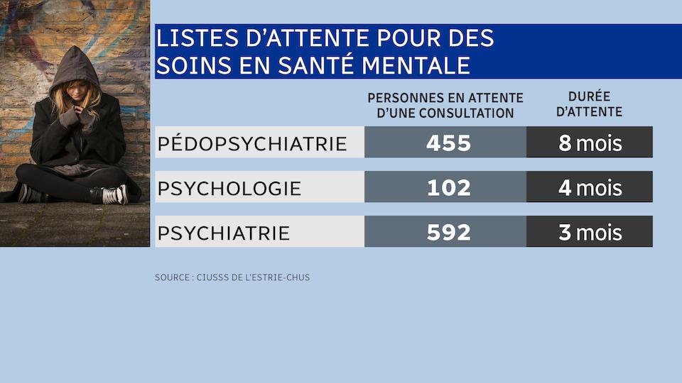 Un tableau présente le nombre de personnes en attente d'une consultation en santé mentale pour la pédopsychiatrie, la psychologie et la psychiatrie en Estrie.