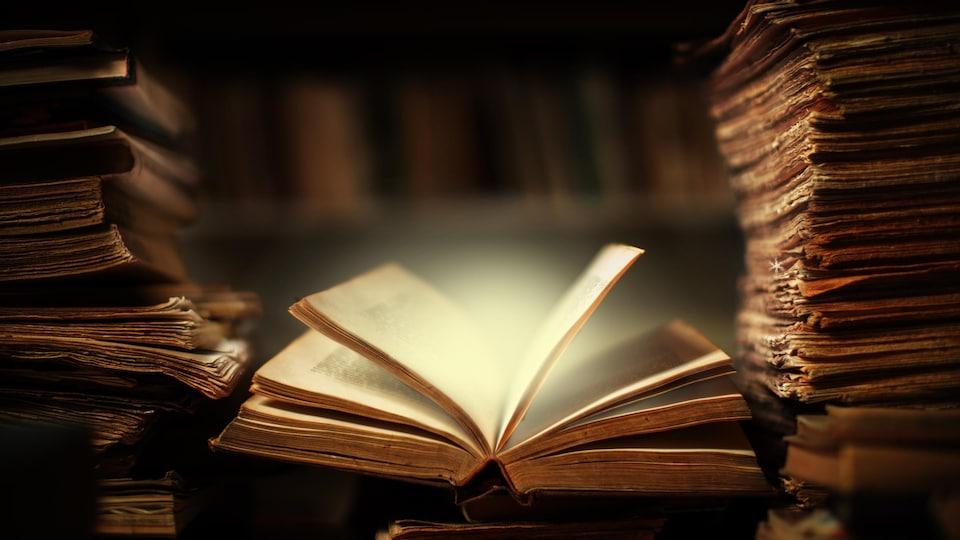 Un livre ouvert sur un bureau.