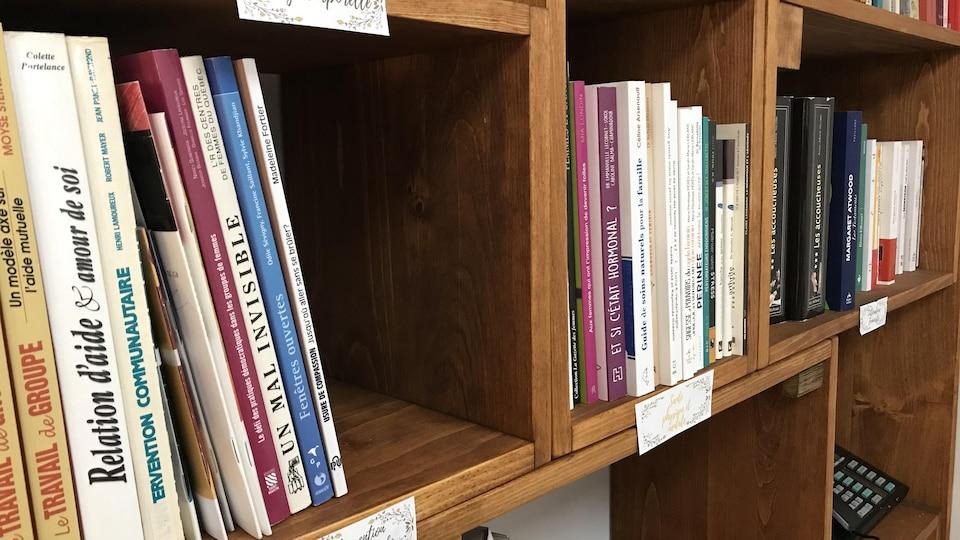 Plan rapproché de livres dans des rayons de bibliothèque.