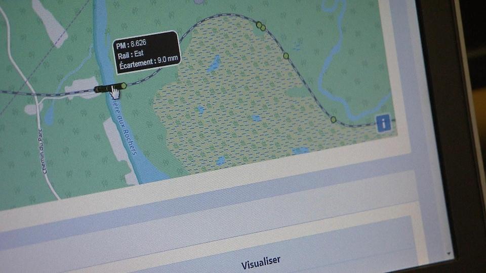 Une carte sur un écran d'ordinateur