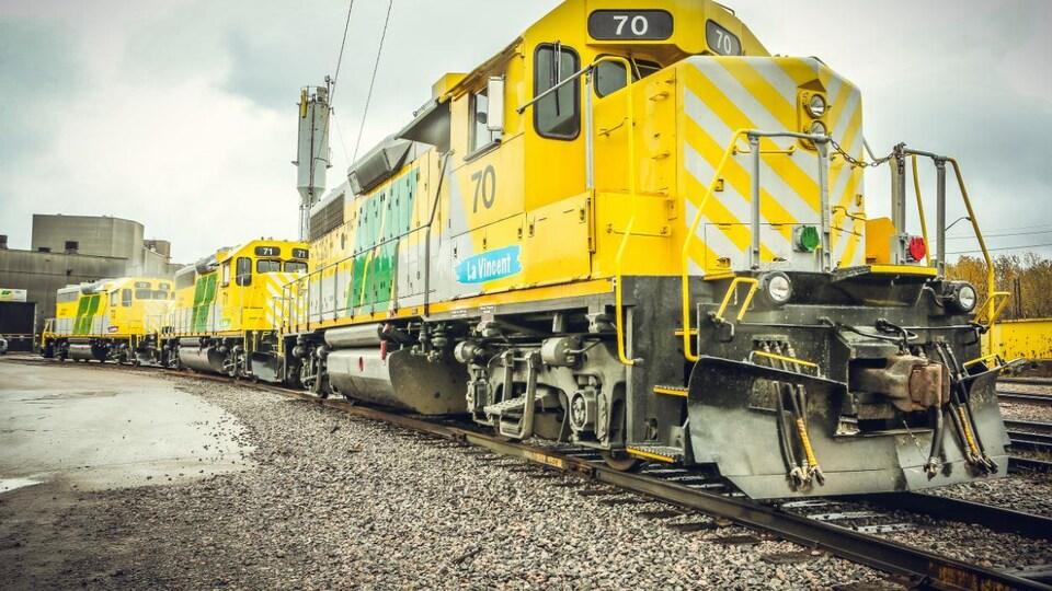 Les trois nouvelles locomotives du Roberval-Saguenay de la multinationale Rio Tinto. Octobre 2017