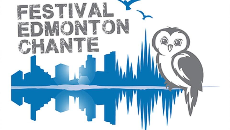 L'affiche du Festival Edmonton chante, qui est en fait le reflet de la ville dans la rivière et une image d'un hibou