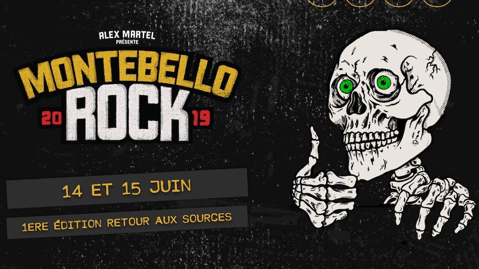Une capture d'écran du site Internet du festival, sur laquelle ont peut lire « Montebello Rock 2019 - 14 et 15 juin ».