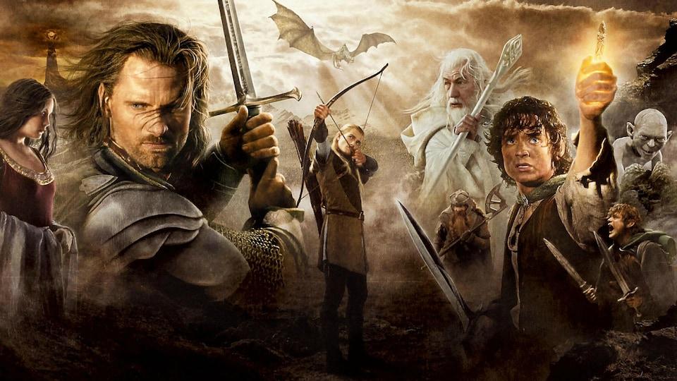 Affiche promotionnelle de la trilogie de films <em>Le seigneur des anneaux</em> réalisée par Peter Jackson