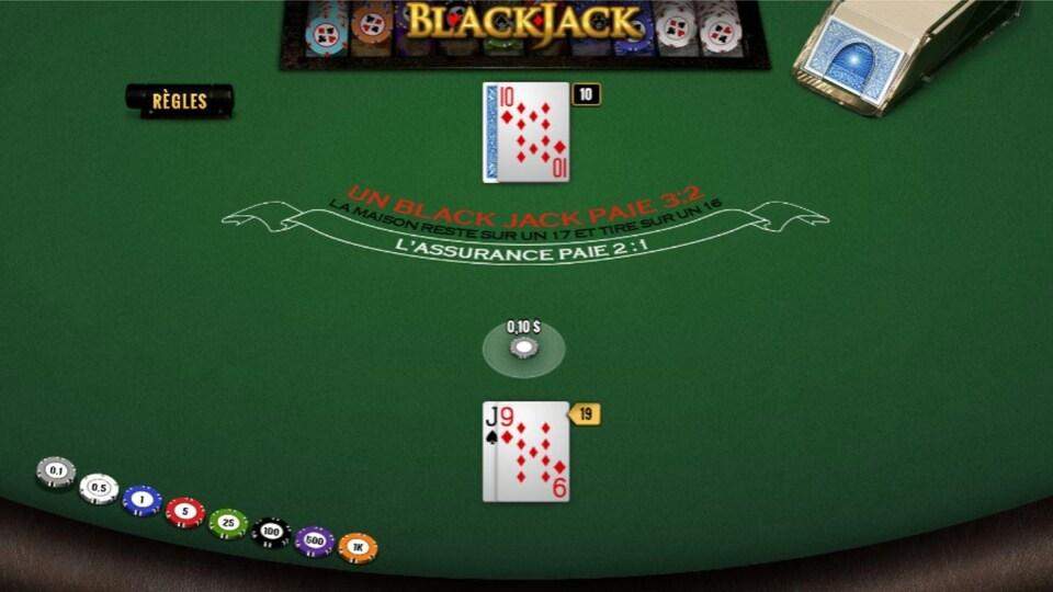 Un jeu de blackjack virtuel de Loto Atlantique.