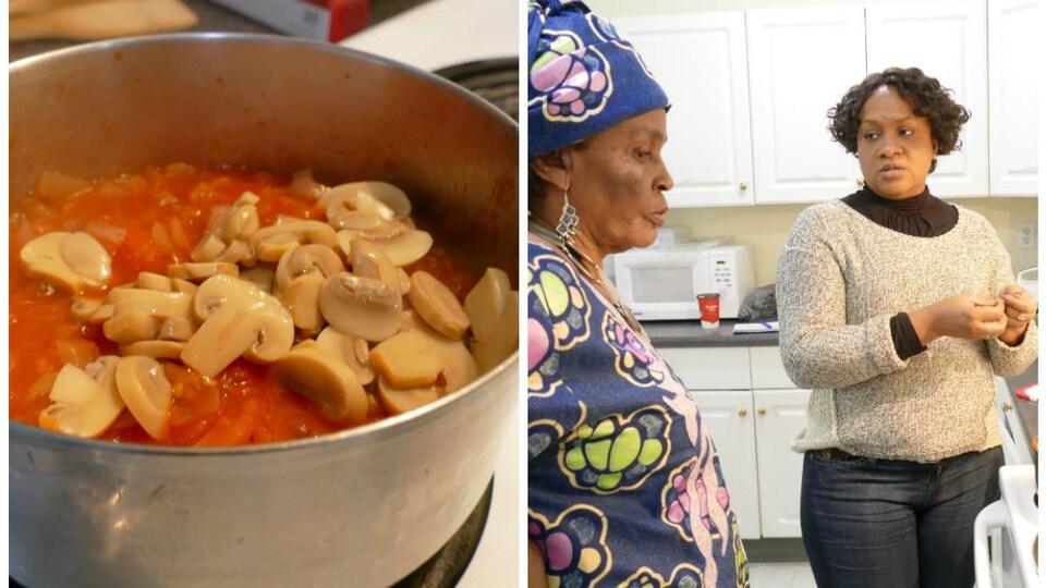 Louise-Marie et Oumou surveillent la cuisson.