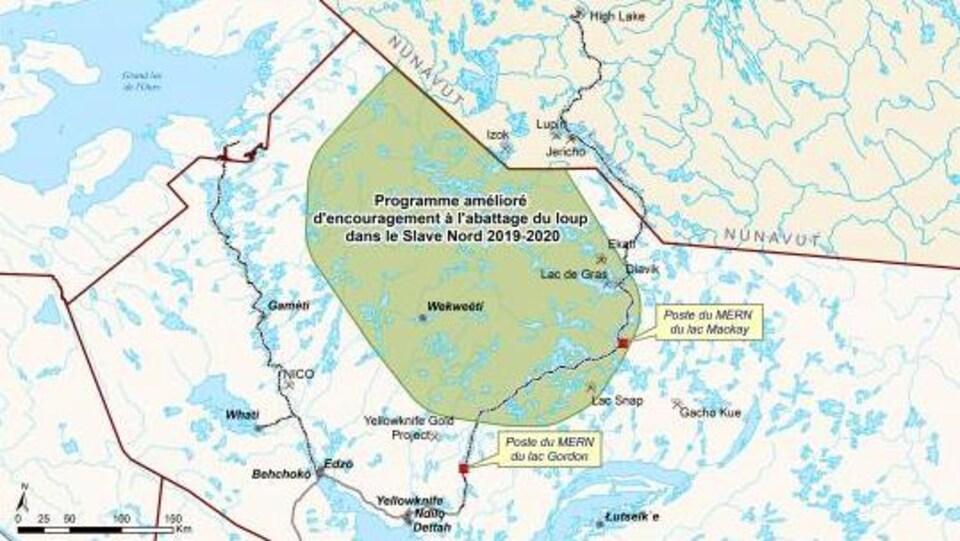 Une carte géographique avec en vert la zone touchée par le Programme qui se trouve près de la frontière avec le Nunavut.