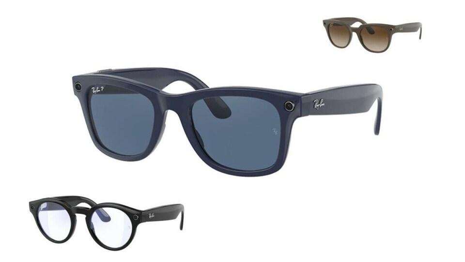 Trois paires de lunettes intelligentes de la marque Ray-Ban sur un fond blanc.