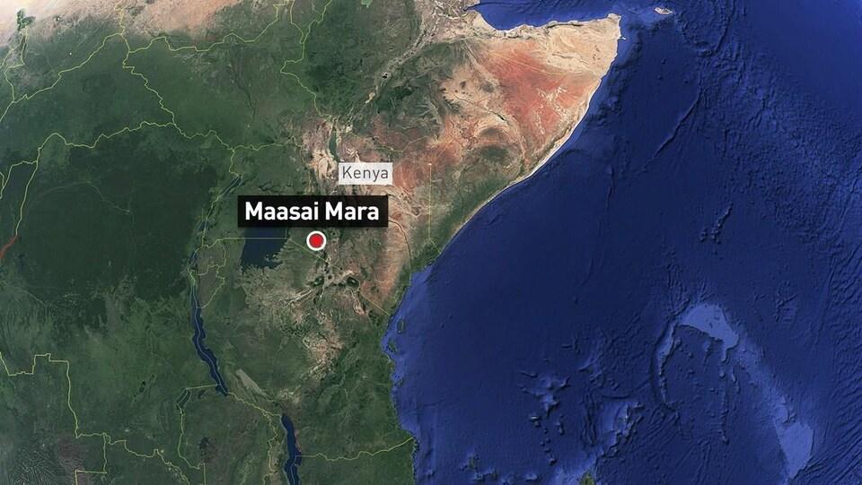 Carte du territoire indiquant d'un point rouge la localisation de la région Maasai Mara.