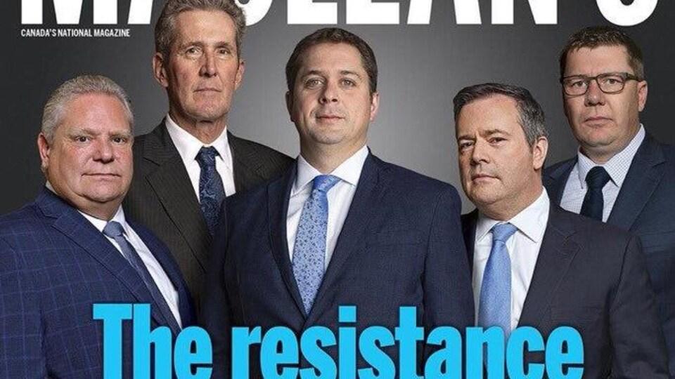 La page couverture du magazine Maclean's, où figurent des leaders conservateurs.