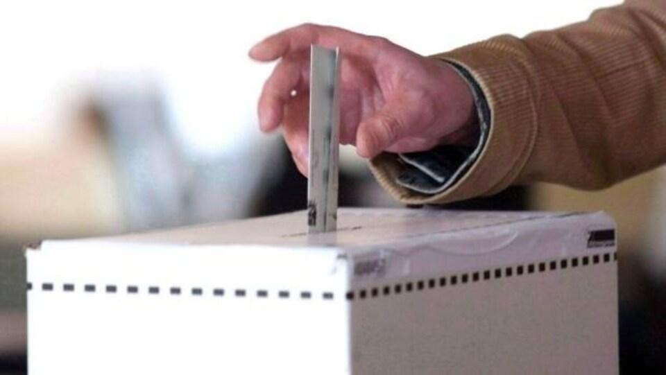 Une main dépose un bulletin de vote dans une boîte.