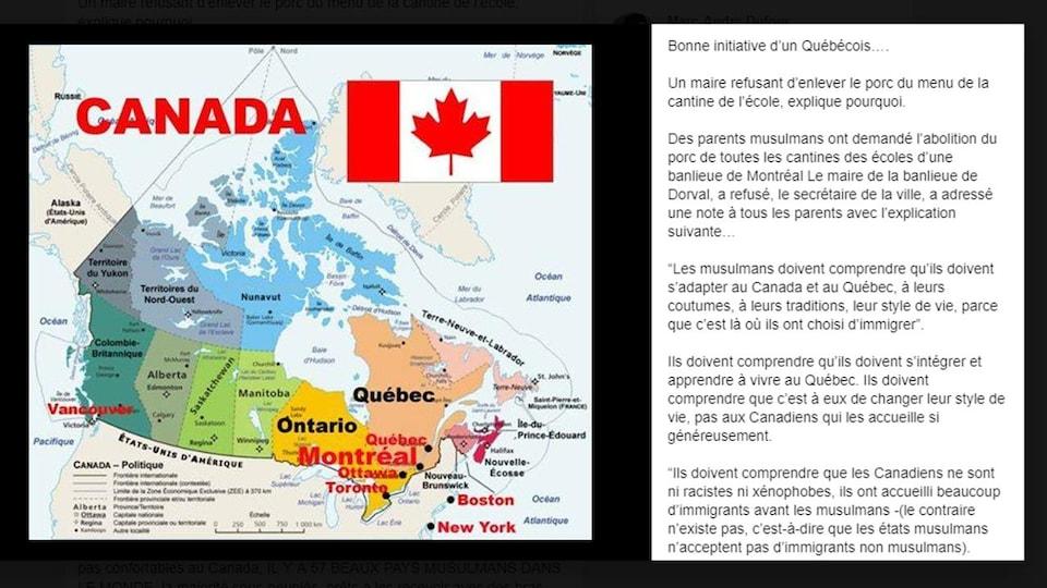 Il s'agit d'une carte du Canada, ainsi que d'un texte attribué au maire de Dorval.
