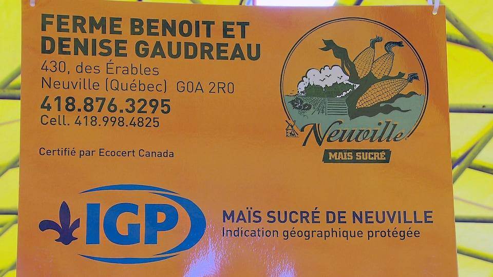 Le logo IGP (identification géographique protégée) sur l'affiche d'un cultivateur.
