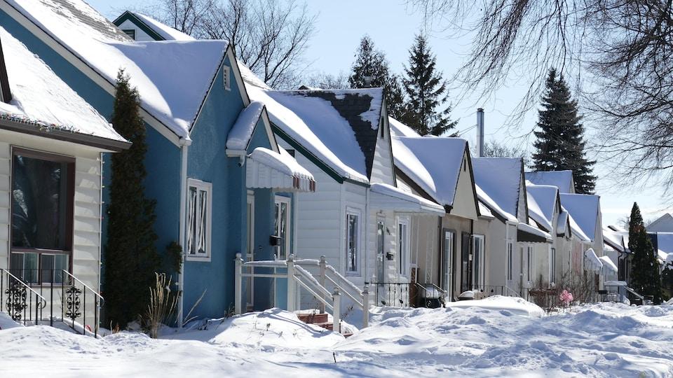 Une série de maisons sur une rue de Winnipeg.